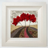 Eileen McNulty 'Red Trees' Original Textile & Embroidery